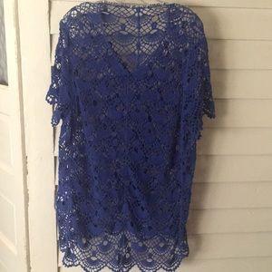 Blue lace crochet top 2X